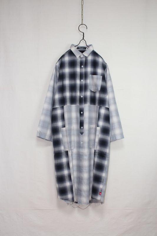 画像1: VIRGO/VIRGO×MACKDADDY special long shirts WHT×BLK (1)