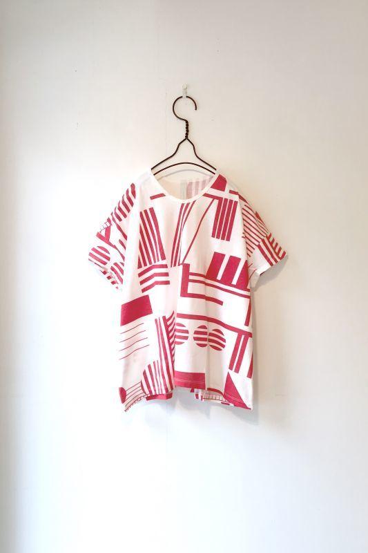 画像1: SNEEUW/モンタージュプリントTシャツ RED (LADIES) (1)