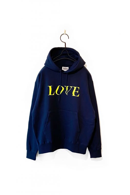 画像1: PURPLE THINGS/LOVE&HATE HOODIE NAVY (1)