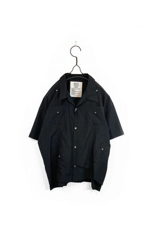 画像1: elephant TRIBAL fabrics/OUT OF ALIGNMENT CUBAN SHIRT BLACK (1)