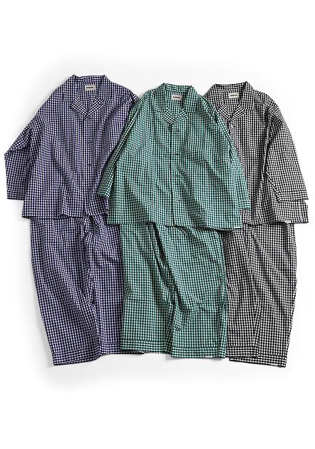 """画像1: NOWHAW/""""jambo"""" pajama ギンガム #violet blue/#green (1)"""